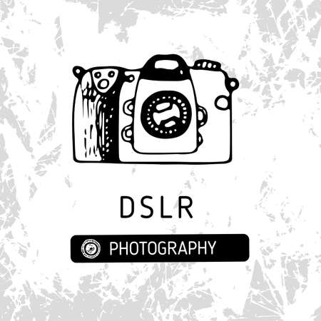 Digital photo camera hand drawn vector illustration Illustration