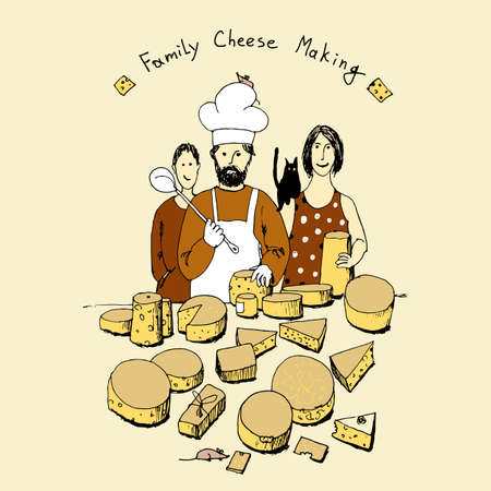 Small family farming business producing cheese hand drawn vector illustration Illustration