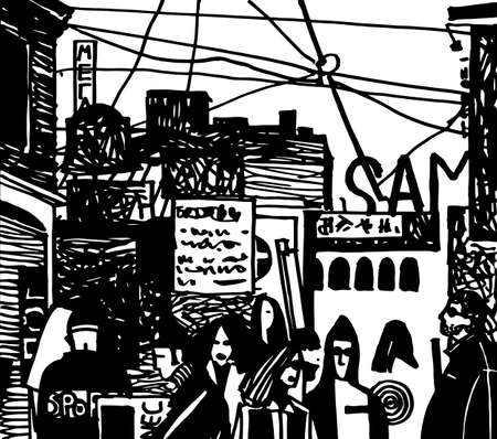 The city and people crowd hand drawn black and white vector illustration