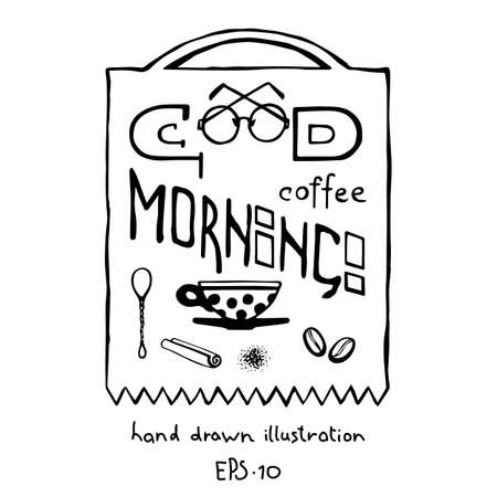 Coffee banner with lettering hand drawn for cafe, restaurant design