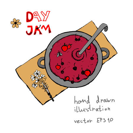 Cooking strawberry-cherry jam in a large bowl vector hand drawn