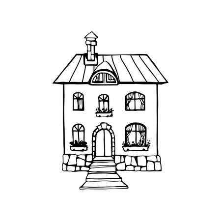 Two-storey country house hand drawn icon monochrome