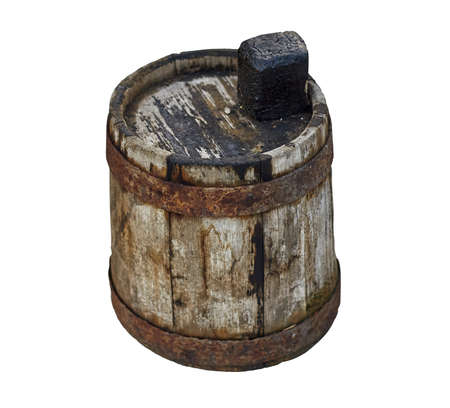 Old wooden dirty barrel for fuel oil on isolated white background closeup 스톡 콘텐츠