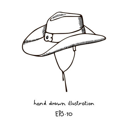 The traditional headdress of the cowboy, cowboy hat hand drawn