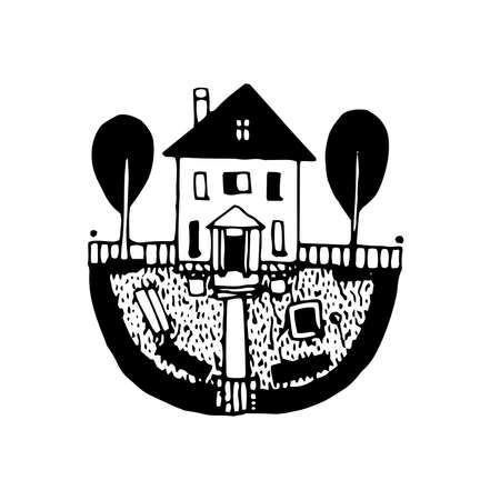 Country house hand drawn icon monochrome