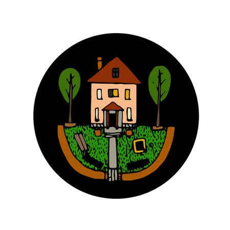 Country house hand drawn icon color Illustration