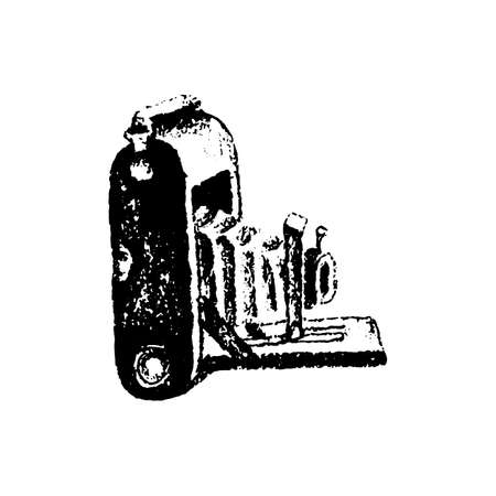 Medium format retro camera hand drawn isolated on white vector illustration