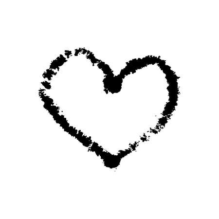 Heart monochrome symbol hand drawn vector illustration