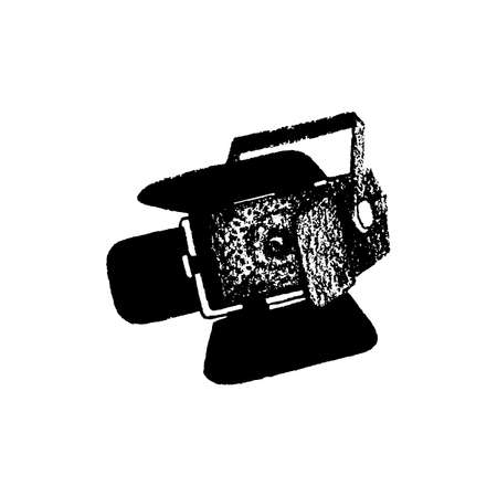 Video light equipment hand drawn isolated on white vector illustration
