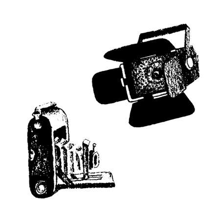 Retro camera and video light equipment hand drawn vector illustration