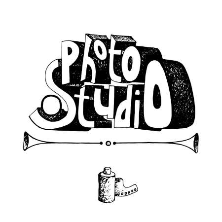 Lettering inscription photo studio hand drawn vector illustration