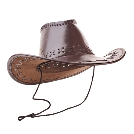 brown leather hat: Leather cowboy hat on white background