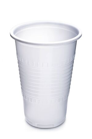Empty plastic cup on white background