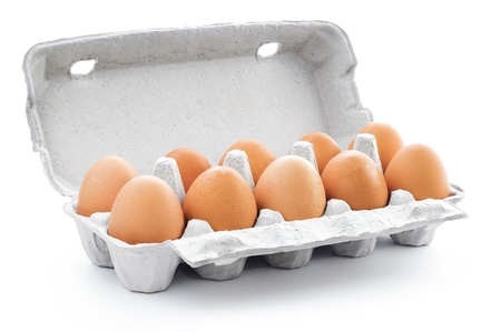 egg box: Ten brown eggs in a carton package