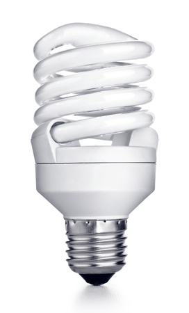 bakground: Energy saving fluorescent light bulb on white bakground Stock Photo