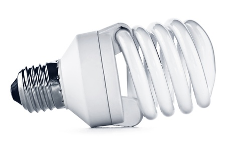 Energy saving fluorescent light bulb on white bakground Stock Photo