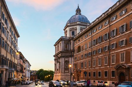 Evening cityscape. Streets of Rome city, Italy Editorial