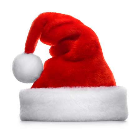 christmas party: Single Santa Claus red hat isolated on white background