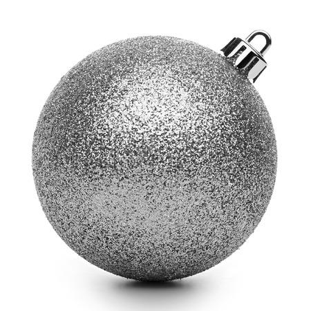 Silvertmas ball isolated on white background Stock Photo