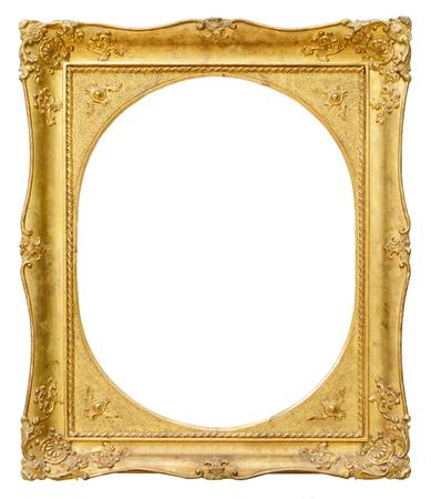 ornate frame: Gold vintage oval frame isolated on white background