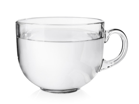 glass cup: Transparent glass tea cup isolated on white background