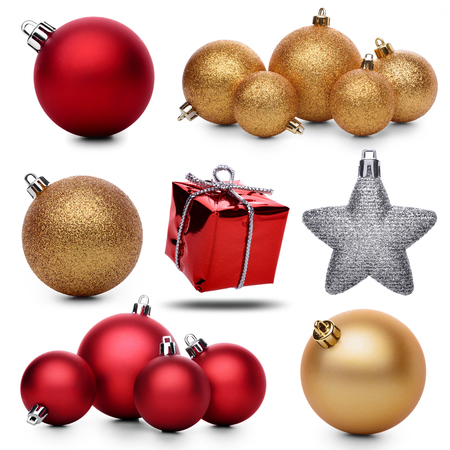 christmas baubles: Set of christmas decorations on a white background