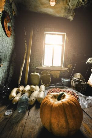 storing: vegetables in an old wooden house
