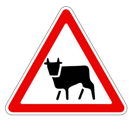 red bull: triangular traffic sign with a picture of a cow Stock Photo