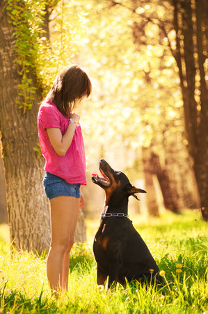 dutiful: Young beautiful girl with a dog Stock Photo
