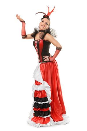 bailando flamenco: Hermosa muchacha sonriente est� aislado bailando flamenco en el fondo blanco Foto de archivo