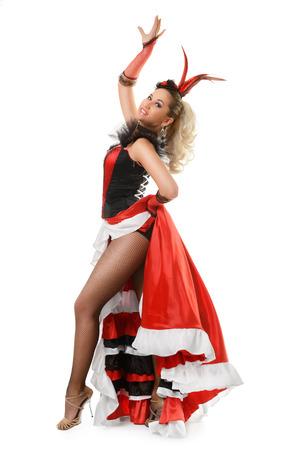 bailando flamenco: Hermosa muchacha sonriente está aislado bailando flamenco en el fondo blanco Foto de archivo