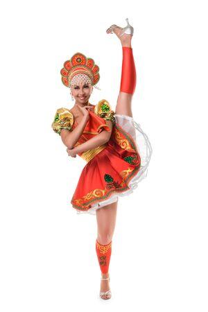 kokoshnik: Beautiful smiling girl in traditional russian costume isolated on white background Stock Photo