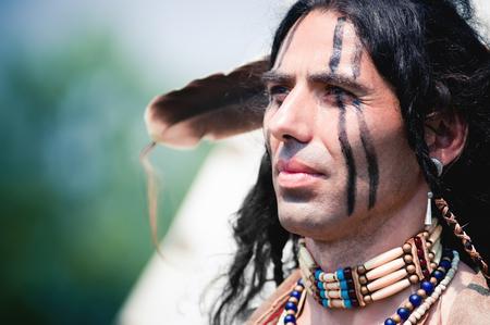 Portrait of american indian in national dress Archivio Fotografico