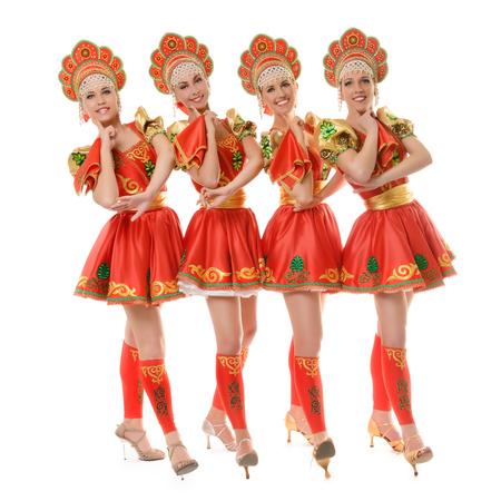 kokoshnik: Group of beautiful girls in traditional russian costume isolated on white background