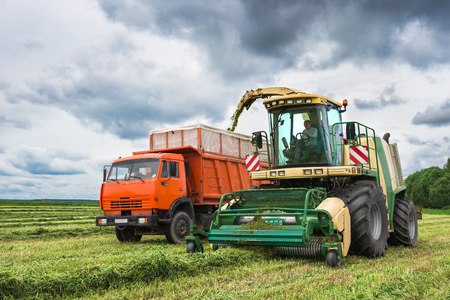 agronomic: Combine harvesting green wheat on field Editorial