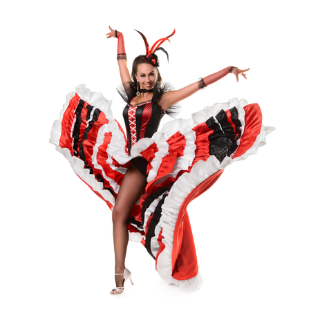 bailando flamenco: Beautiful smiling girl is dancing flamenco isolated on white background