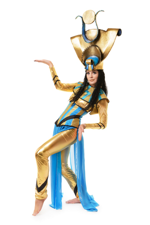 egyptian woman: Young girl dressed in Egyptian costume isolated on white background