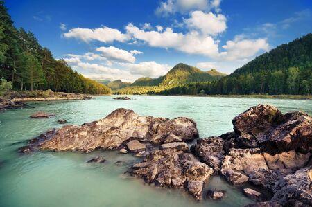 mountain landscape: Beautiful mountain landscape with river. Altai, Russia