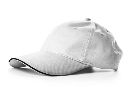 headgear: Grey baseball cap isolated on white background