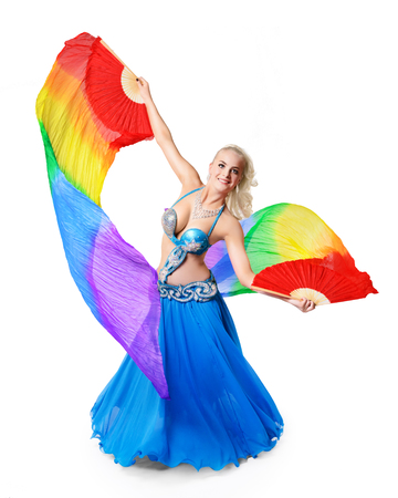 Beautiful belly dancer with multicolor shawl isolated on white background