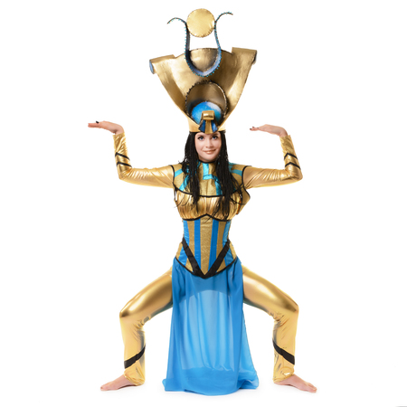 Young girl dressed in Egyptian costume isolated on white background