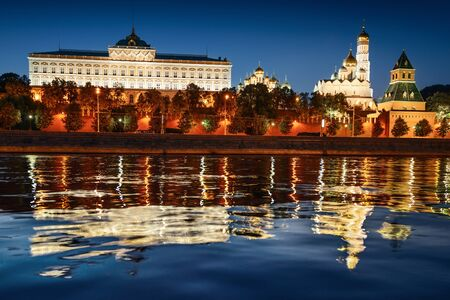 embankment: View of Moscow Kremlin from embankment at night Stock Photo