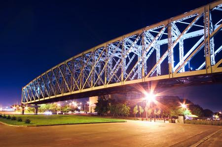 novosibirsk: Illuminated bridge in the city of Novosibirsk. Uban night landscape