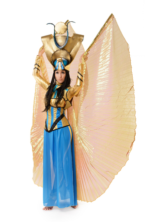 nefertiti: Young girl dressed in Egyptian costume isolated on white background