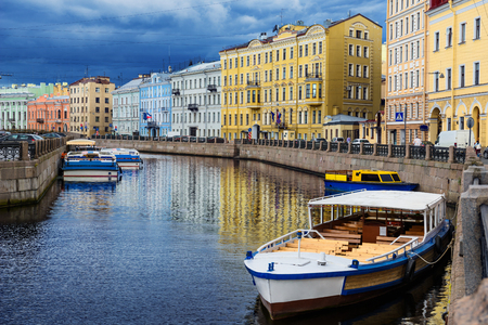 petersburg: River channel with boats in Saint Petersburg. Summer Stock Photo