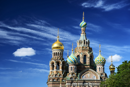 petersburg: Russian orthodox church Spas na Krovi against the blue sky. Saint Petersburg, Russia Stock Photo