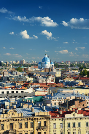 saint petersburg: Scenic view on Saint-Petersburg city from the colonnade of St. Isaacs. Russia Stock Photo