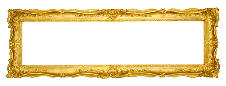 photo frame: Gold vintage frame isolated on white background