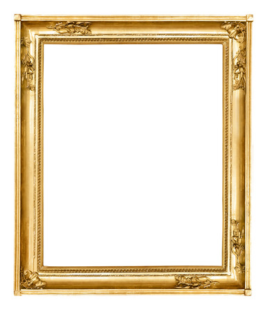 baroque picture frame: Gold vintage frame isolated on white background