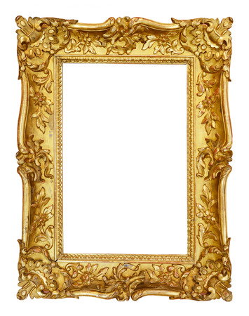gold: Gold vintage frame isolated on white background